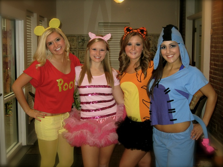 our halloween costumes this year! winnie the pooh, piglet, tigger, and eeyore!