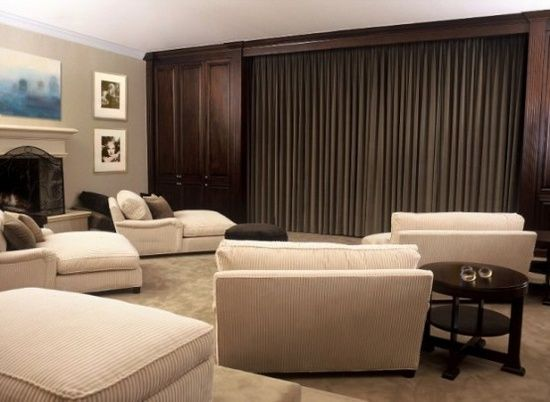 interior interesting sophisticated home movie theater design large home theater unit covered with grey vertical curtain in minimalist whi