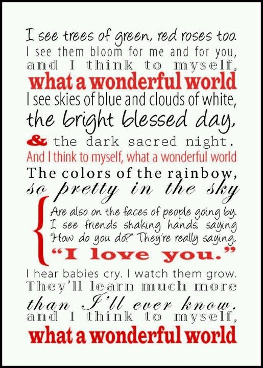 """Louis Armstrong's """"What a Wonderful World""""--such a beloved song and understandably so <3"""
