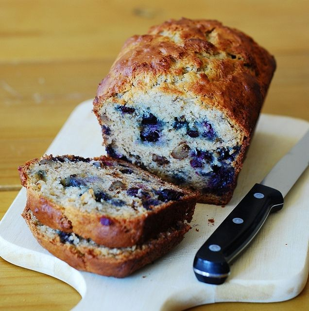 Banana bread with blueberries... Made this with 1/2 whole wheat flour and honey substituting 1/2 the sugar. Yummy bread and not too sweet!