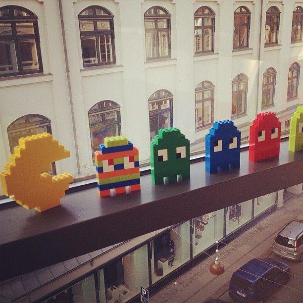 LEGO Pac Man sculptures
