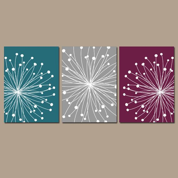 DANDELION Wall Art, Dandelion Bedroom Wall Decor, CANVAS or Prints, Gray Coral Aqua Art, Coral Aqua Bathroom Decor, Set of 3, Home Decor