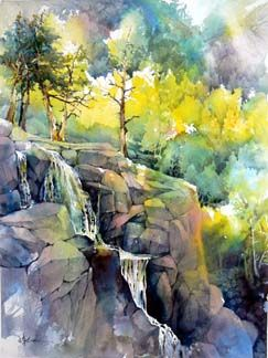 """""""Waterfall"""" by Lian Zhen.  He has a wonderful way of using multicolored washes and then negative painting to bring out the details."""