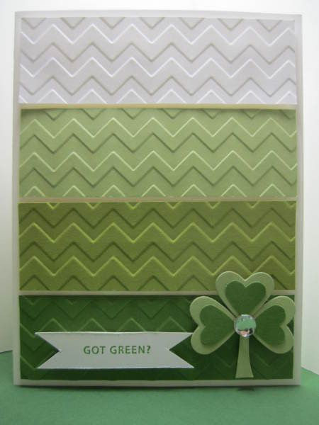 handmade St. Patrick's Day card ... paint chip style ...like how the embossing folder chevrons match up ... Stampin' Up!