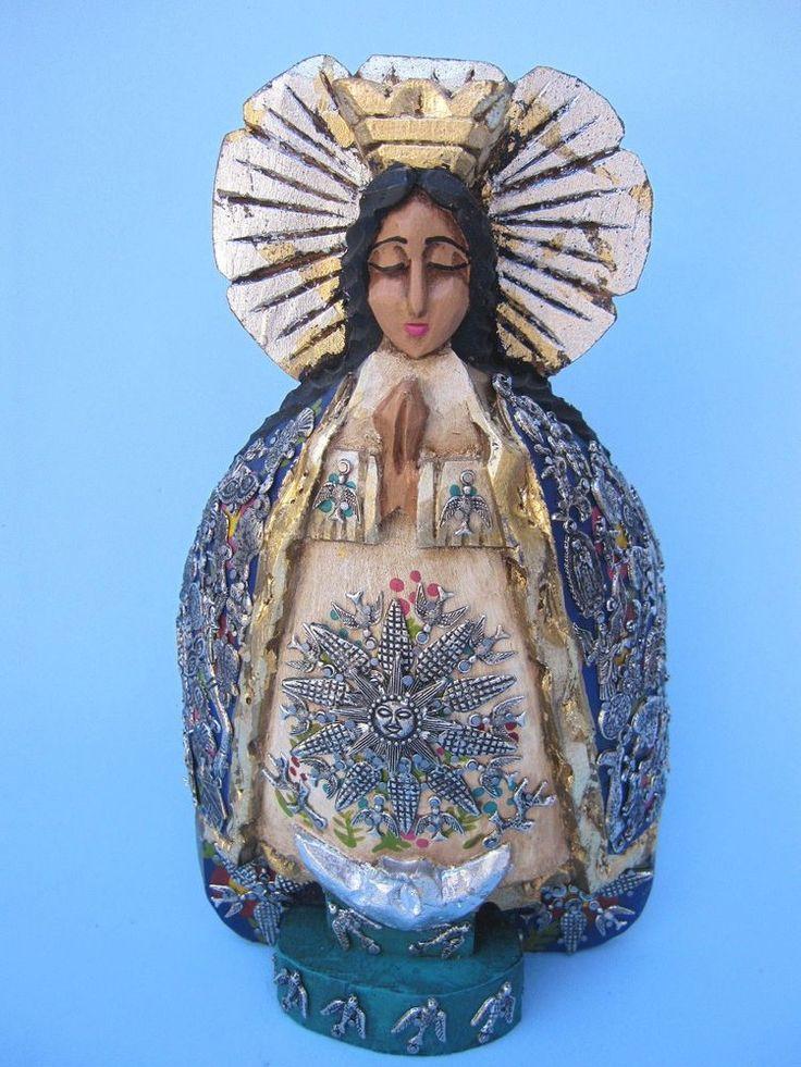 """VIRGIN OF HEALTH/VIRGEN DE LA SALUD WITH SILVER MILAGROS 1O.5"""" MEXICAN FOLK ART #Mexican"""