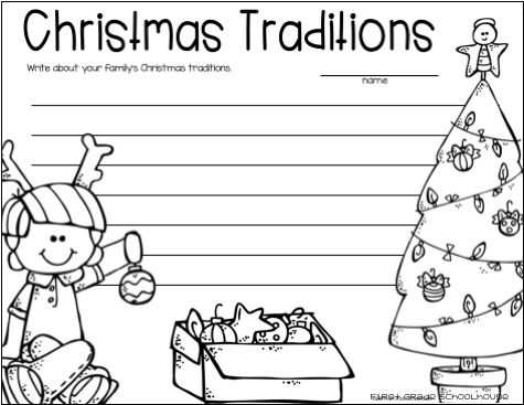 Christmas writing packet for first grade. It's the perfect packet to engage your students in a variety of winter season holiday writing activities and booklets. The Christmas writing topics include Santa Claus, reindeer, North Pole, family holiday traditions, story structure, poem and letter writing, sentence writing, response to Christmas literature, and more!