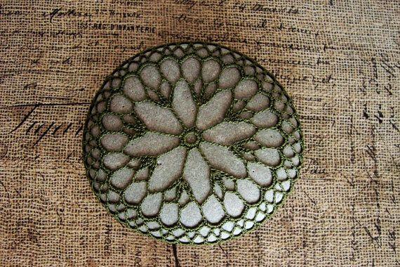 Irish Green Crocheted Lace Stone, Unique St. Patrick's Day Gift, Cotton Thread…