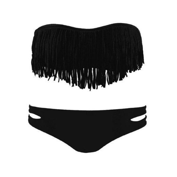 Zicac Fashion Women's Sexy Tassel Padded Bandeau Fringe Bikini Set... (36 BAM) ❤ liked on Polyvore featuring swimwear, bikinis, bathing suits, swim, swimsuit, swim suits, strapless bikini, sexy bikini, strapless bathing suits and bikini bathing suits