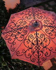 Welcoming open umbrellas (bricks or concrete blocks) scattered around the perimeters of your lawn, patio.  Place a candle in a glass jar and hide it behind the umbrella so the patterns glow. SO easy.  So gorgeous.
