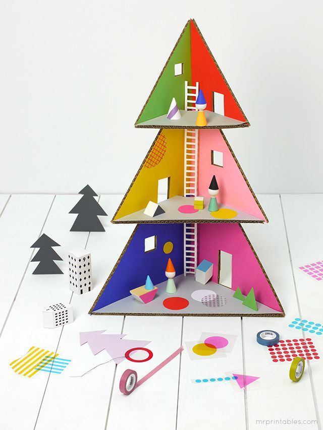 DIY Christmas tree doll house - made using paper and cardboard.