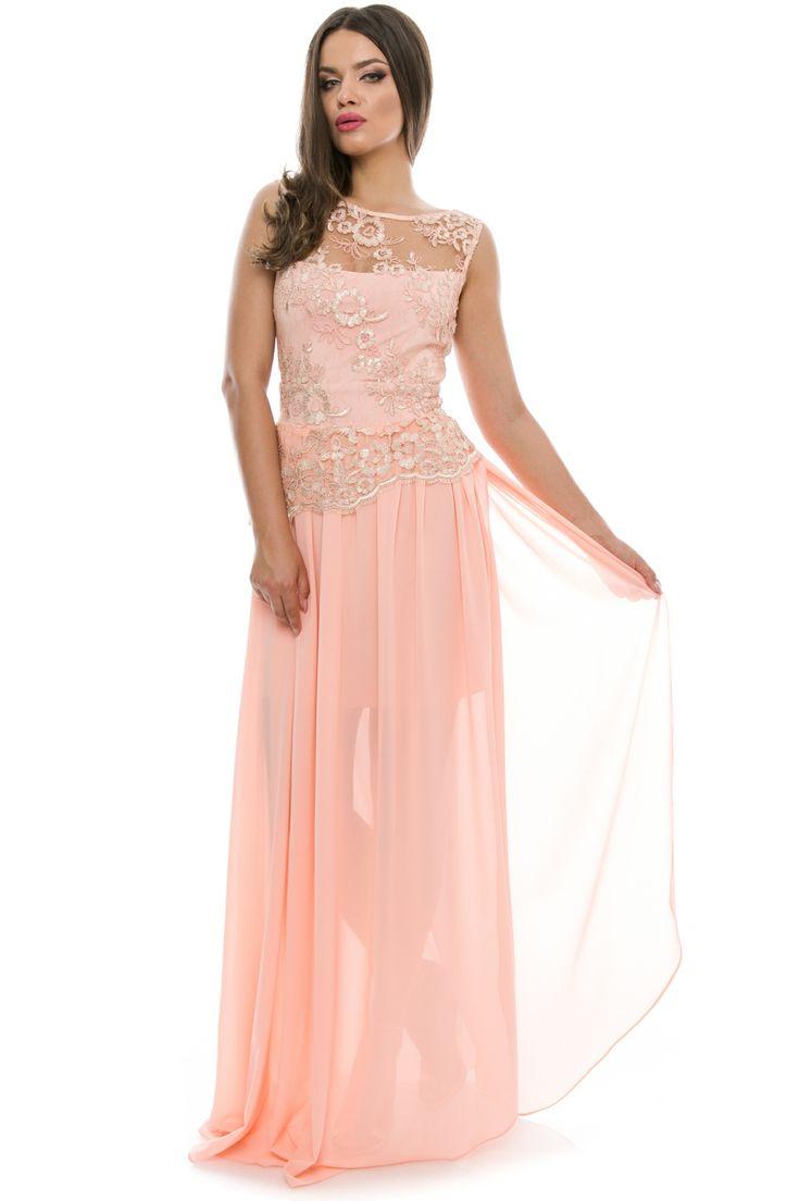 Rochie lunga din voal si dantela #elegant #dress #pink #transparent #veil #lace #gorgeous #summercollection #madeliafashion