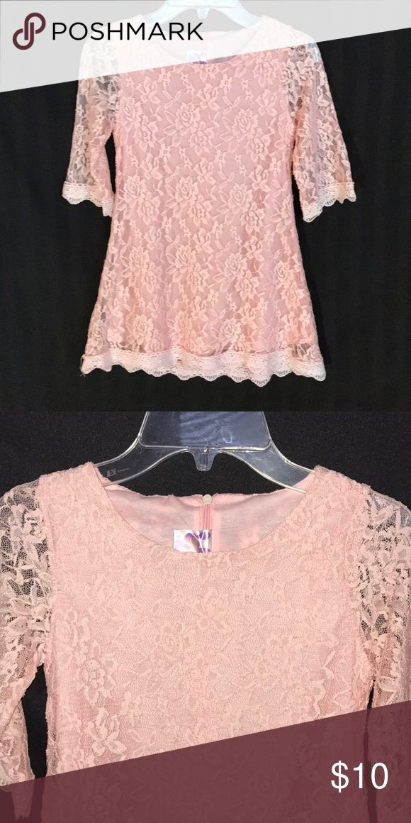 Girls Size Small/Medium Lace Peach Dress Stunning Peach Lace Dress  Purchased at boutique Wore for about 2 hours Fits like a size 7 Dresses