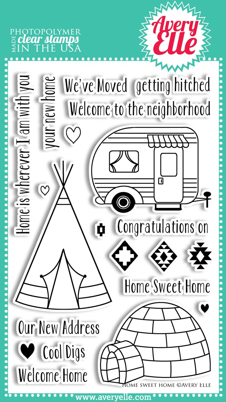 Avery Elle  - Home Sweet Home Clear Photopolymer Stamps, $15.00 (http://www.averyelle.com/home-sweet-home-clear-photopolymer-stamps/)