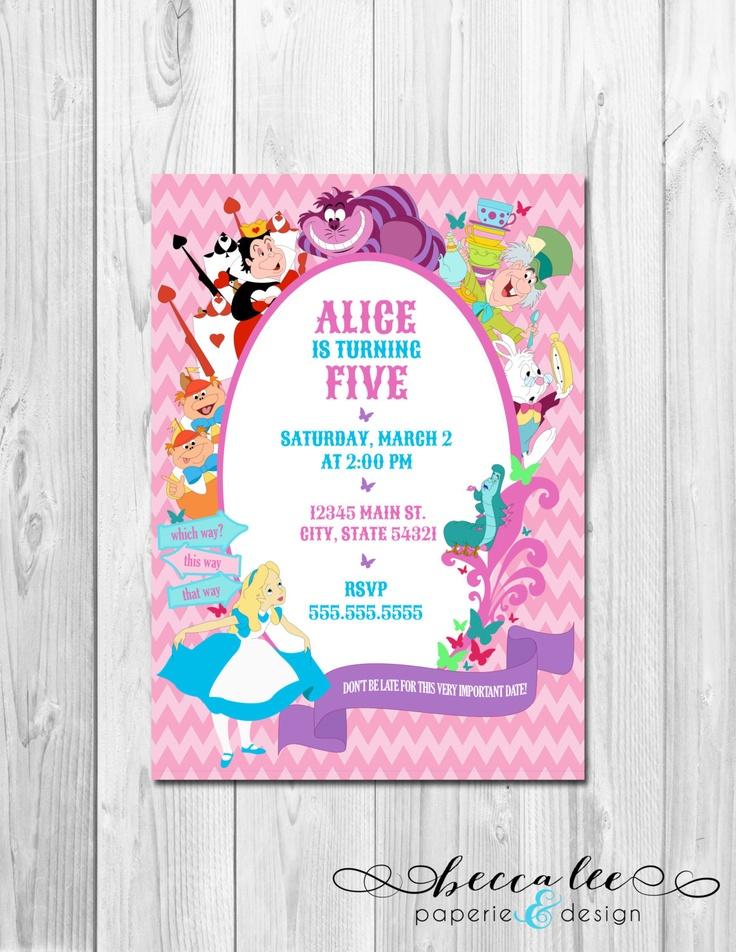 Alice in Wonderland Theme Party Invitation - Alice & Friends - DIY - Printable. $12.00, via Etsy.