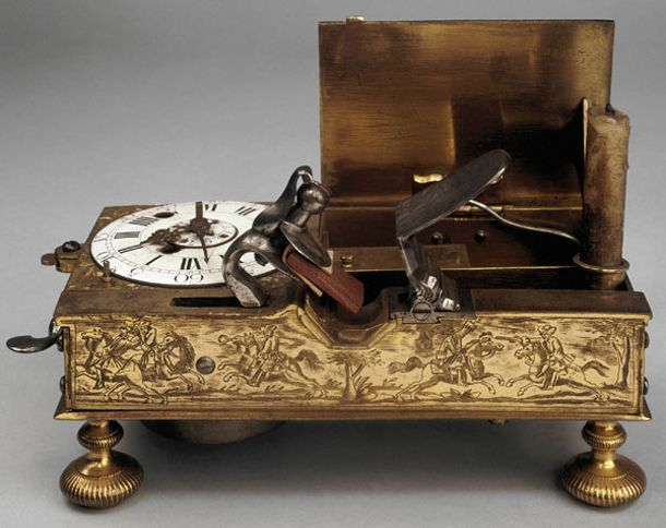 18th Century alarm clock. When the alarm goes on a flintlock is fired which lights a spring loaded candle. On display at the British Museum.Candles Lights, Spring Loaded, Century Alarm, Alarm Clocks, Lights Alarm, Trav'Lin Lights, 18Th Century, British Museums, Alarm Sounds