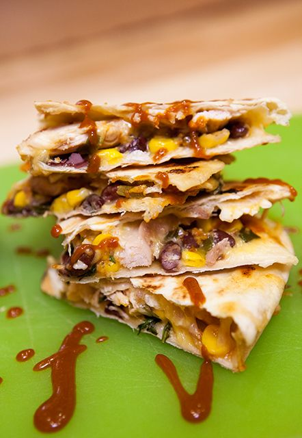 BBQ Chicken Quesadillas - love the idea of the BBQ flavor with ...