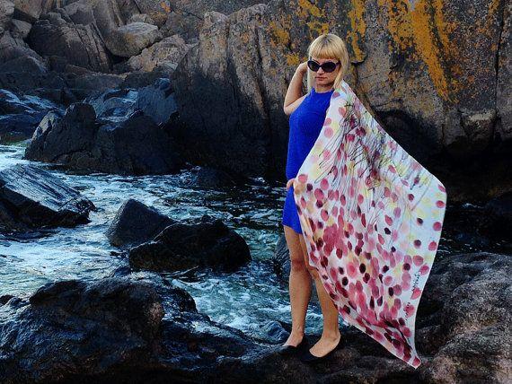 Hand painted silk scarf Shawl Blue Dots Woman silk shawl by GABYGA