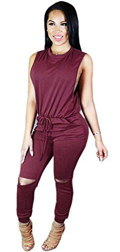 New Trending Pants: Blansdi Women Sexy Crewneck Sleeveless Knee Hole Long Pants Casual Jumpsuits Romper Red L. Blansdi Women Sexy Crewneck Sleeveless Knee Hole Long Pants Casual Jumpsuits Romper Red L  Special Offer: $17.99  499 Reviews Basic Information:Feminine,chic and seriously flattering,it belongs in your day-to-night wardrobeBlansdi Women Sexy Crewneck Sleeveless Knee Hole Long Pants...