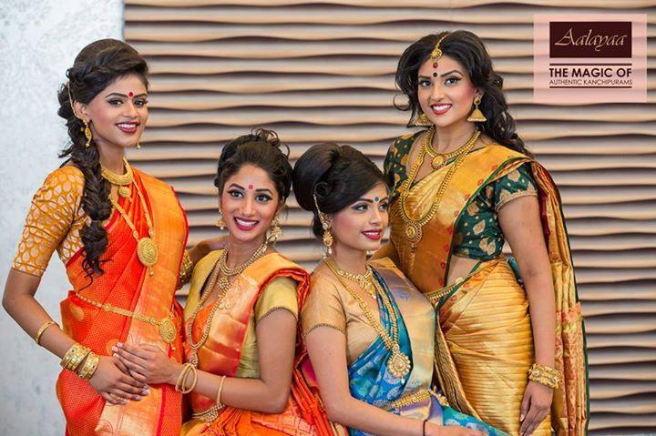 South Indian bride. Kanchipuram silk sari. Hindu bride.