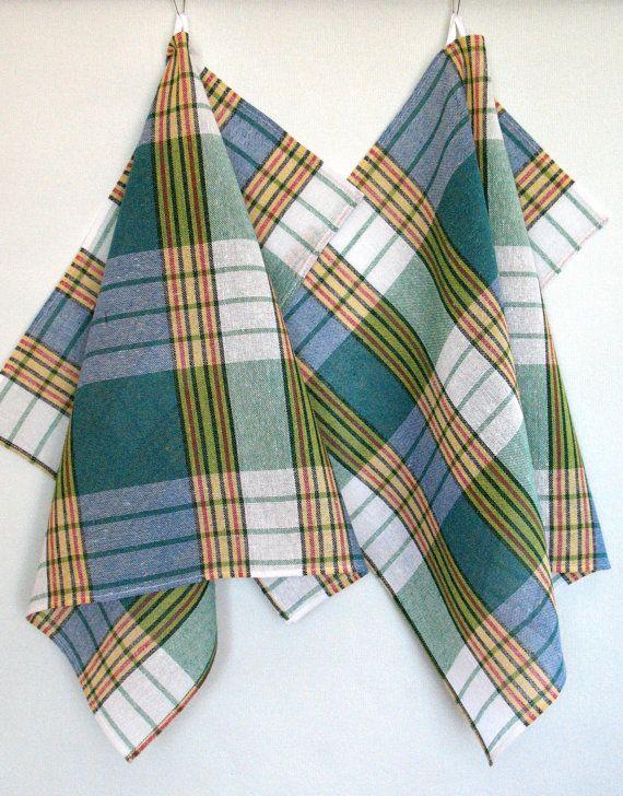 Cotton Dish Towels Green Blue Tea Towels set of 2 by Coloredworld