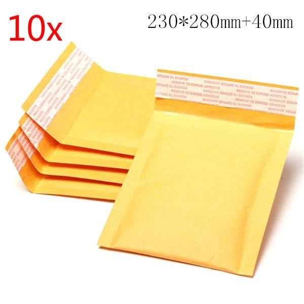 10pcs 230*280mm+40mm Bubble Envelope Yellow Color Kraft Paper Bag Mailers Envelope