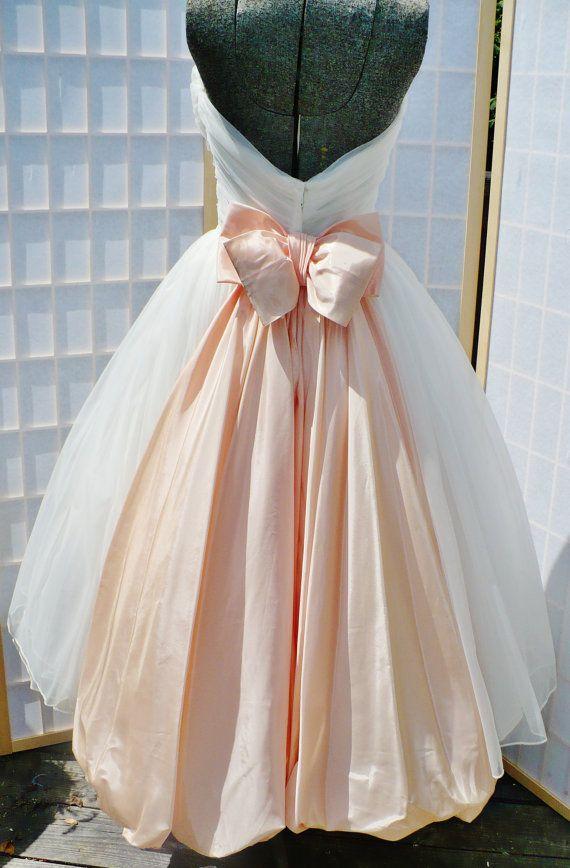 Années 1950 White robe / robe de bal / robe / sans manches de