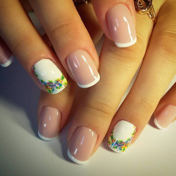 Accurate nails, Exquisite nails, Festive French nails, French manicure, Manicure nail design, Medium nails, Nail Design 2016, ring finger nails