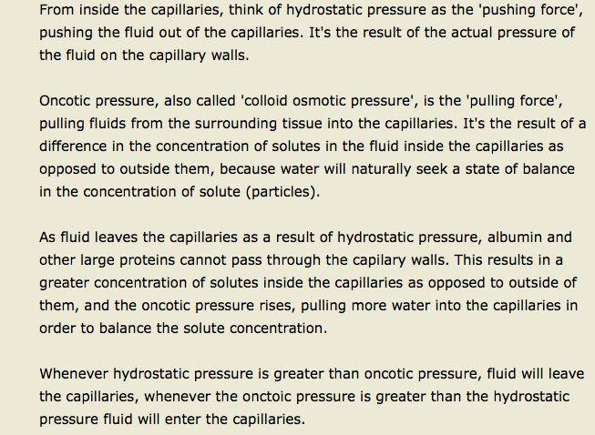hydrostatic/oncotic pressure