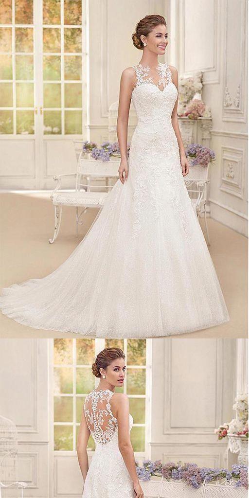 af0a8b7d63b Attractive Straps Tulle A-line Long Wedding Dresses With Lace Appliques   purewhiteandlong