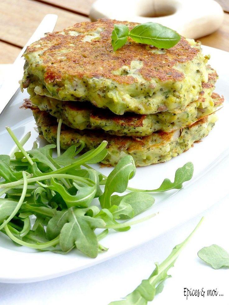 Galettes de brocolis à la ricotta et au pesto de basilic et pistache …
