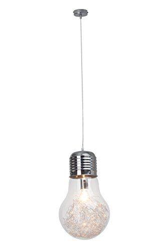 Lampadario di design a forma di lampadina, 27 cm di diametro, cromato ...