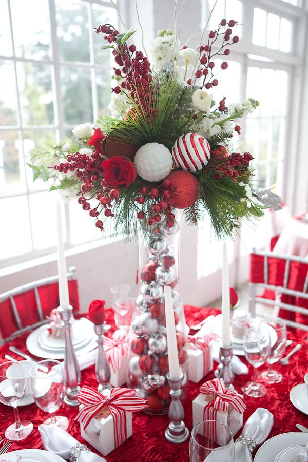 holiday centerpiece ideas This is pretty and you can always use the Christmas balls on your tree the next year You can always do this on the table would be pretty to save you money on the tall vase which can be expensive use berries from Michaels Hobby Lobby use them again for your first Christmas and use real Christmas greens pine, cedar and frazier fir!!