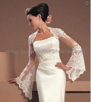 Ivory Lace Bridal Vest Shawl Long Trumpet Sleeves Key Hole Wedding Dress Bolero Jacket Size J64