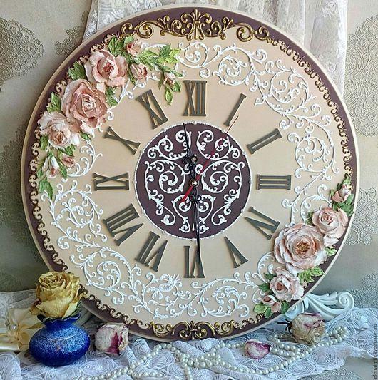 """Часы для дома ручной работы. Ярмарка Мастеров - ручная работа. Купить часы настенные """"Камила"""". Handmade. Коричневый, часы на заказ"""