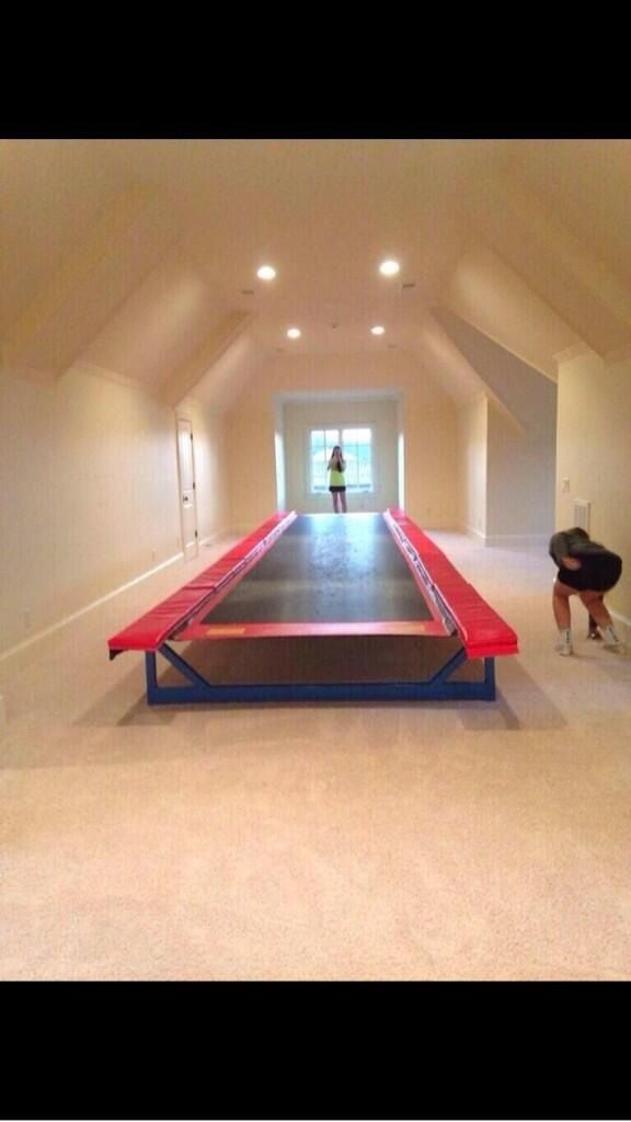 Tumble track in the attic! That would be awesome for gymnastics!