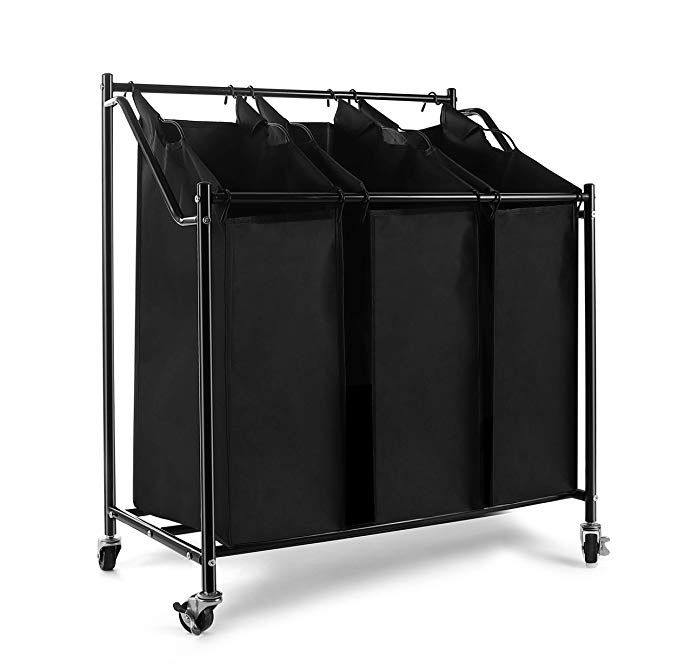 Amazon Com Heavy Duty Laundry Sorter Cart Laundry Hamper Storage Cart With Rolling Wheels 3 Section Rem Laundry Hamper Storage Laundry Hamper Laundry Sorter