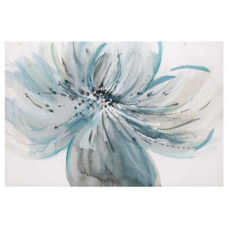 Tableau fleur bleu sarcelle tableaux d cor mural for Tableau bleu et gris