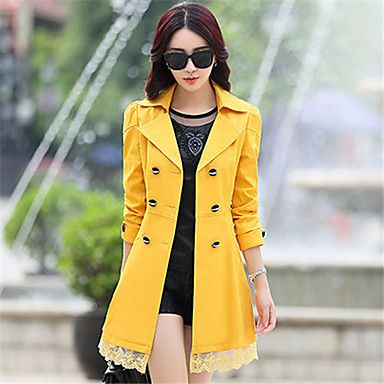 Women's Solid/Lace Pink/Red/Black/Green/Yellow Trench Coat , Casual Long Sleeve Others – USD $ 22.91