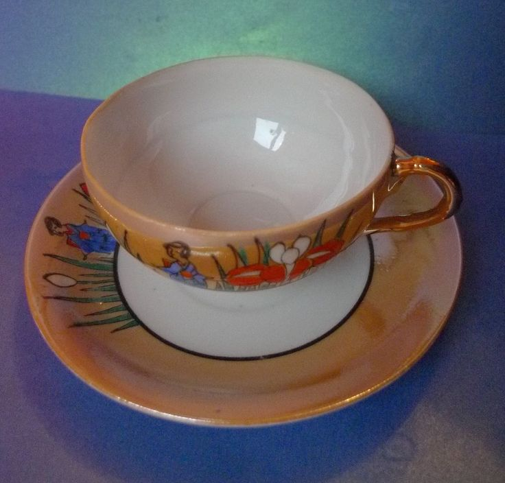 Old Porcelain China Luster Japan pottery Dai Nippon Cup Saucer marked hieroglyph
