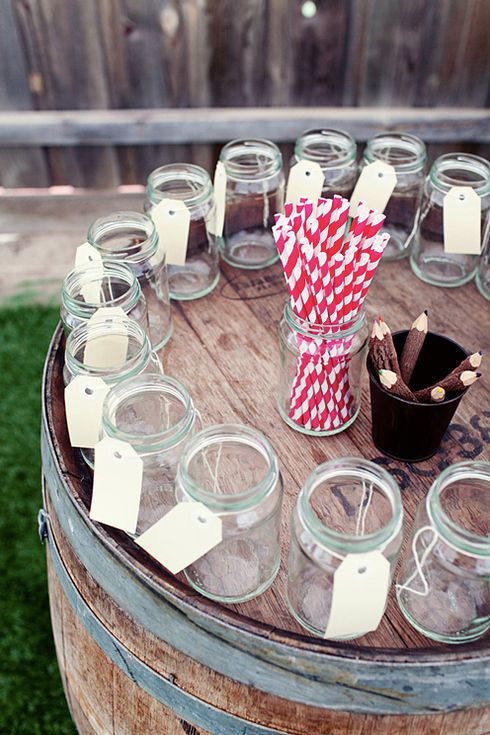 82 Cute Drink Stations That Are Ready To Party, i like the idea of tags that you can write your name on around the glasses