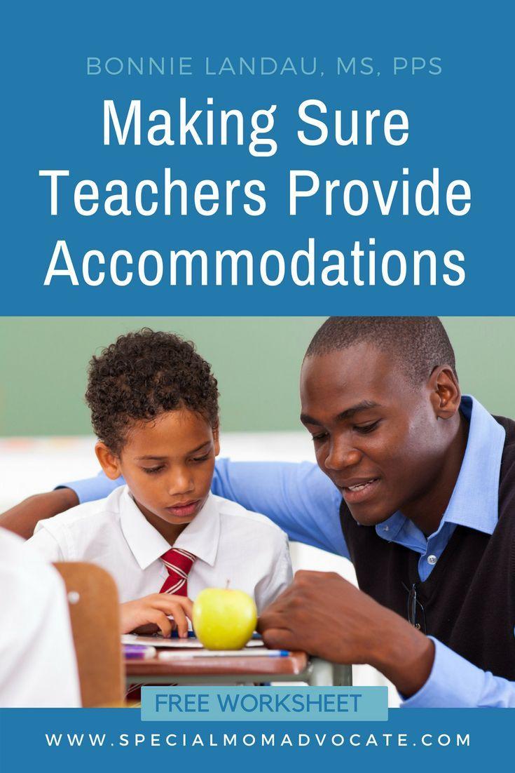 Making Sure Gen Ed Teachers Provide Accommodations - Free Worksheet ...