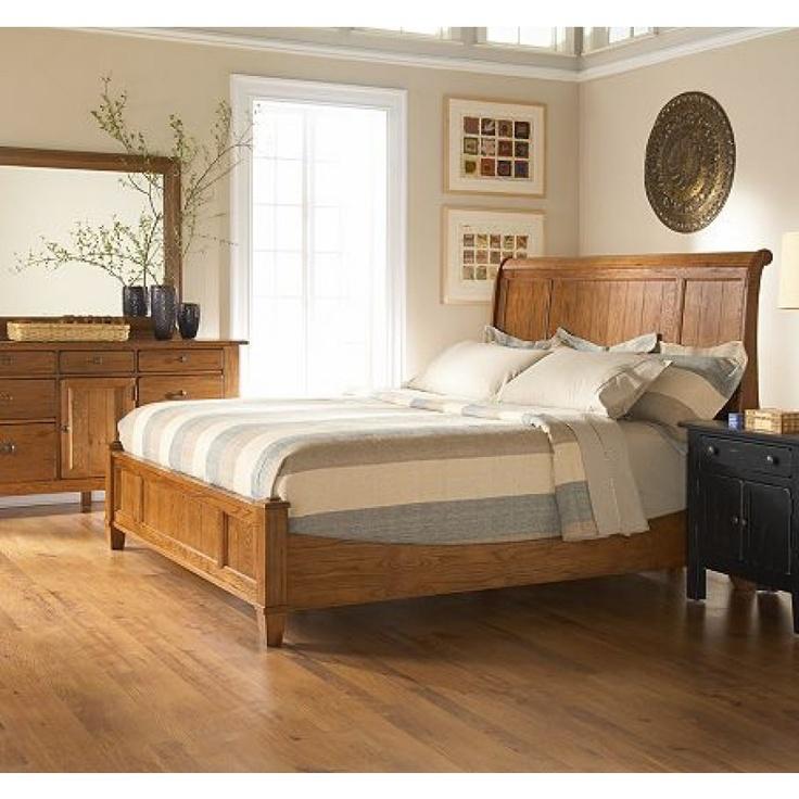 broyhill attic heirlooms sleigh bed in rustic oak