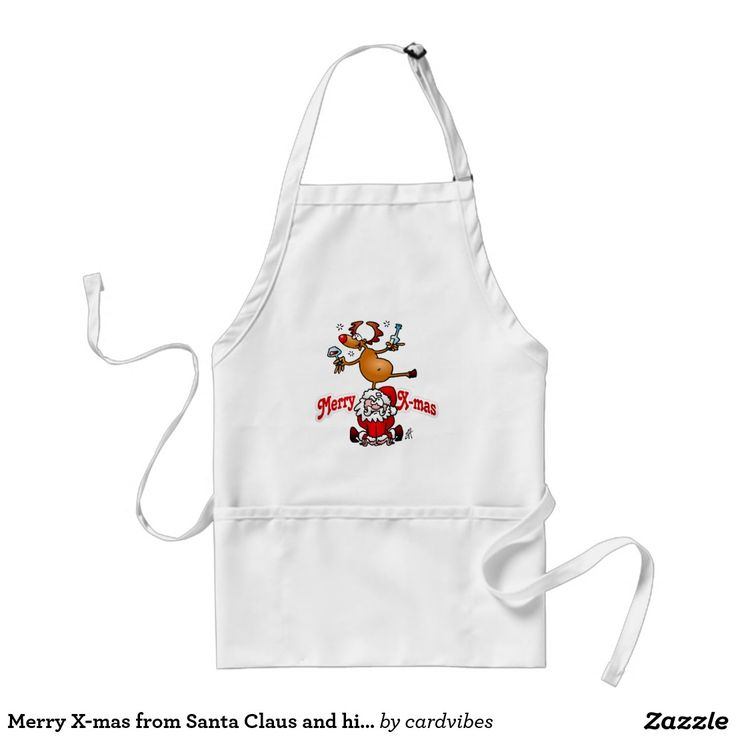 Merry X-mas from Santa Claus and his reindeer apron. #Zazzle #Cardvibes #Tekenaartje #NEW