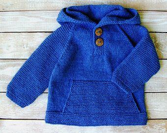 Ropa de bebé niño - niños azul con capucha - mano punto bebé niño con capucha - Denim azul niños suéter talla 3T