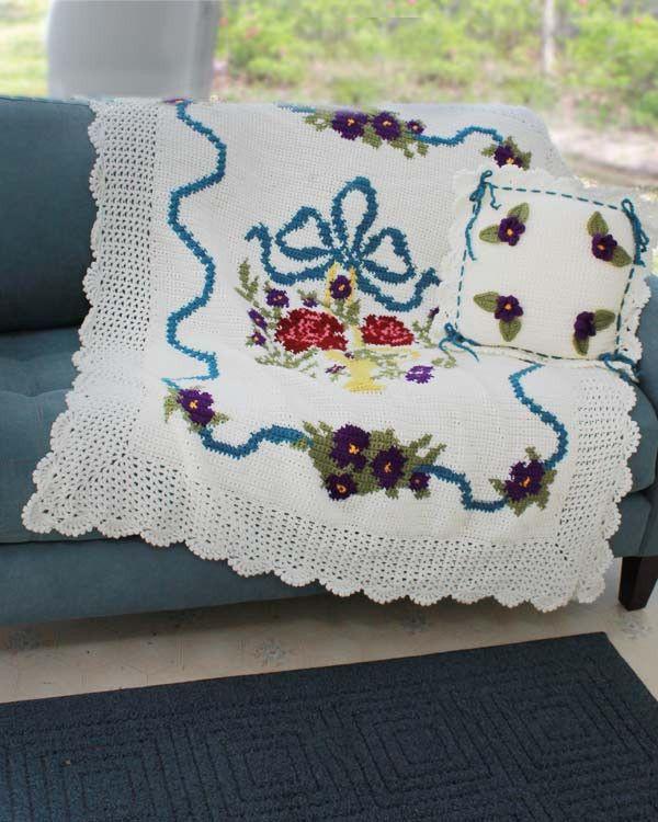 Maggie's Crochet · English Garden Afghan and Pillow Crochet Pattern