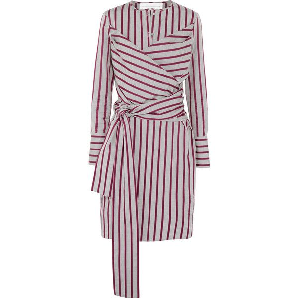 Victoria, Victoria Beckham Tie-front striped cotton shirt dress ($316) ❤ liked on Polyvore featuring dresses, grey, long loose dresses, cotton dress, grey dress, striped shirt dresses and long cotton dresses