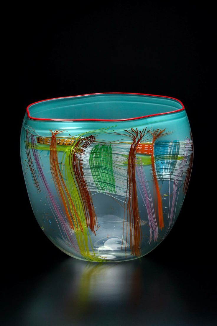chihuly cylinders | Dale Chihuly, Aqua Soft Cylinder with Carmine Lip Wrap