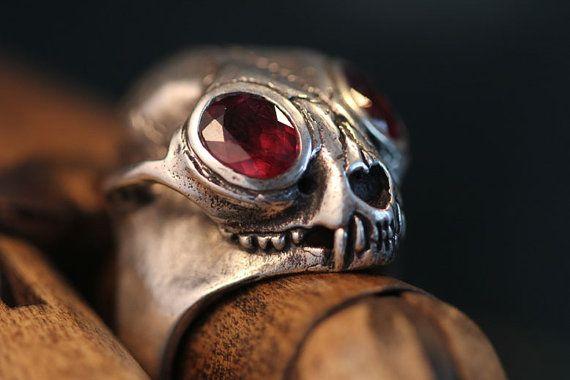 Bobcat Skull Ring - Sterling Silver and Red Garnets