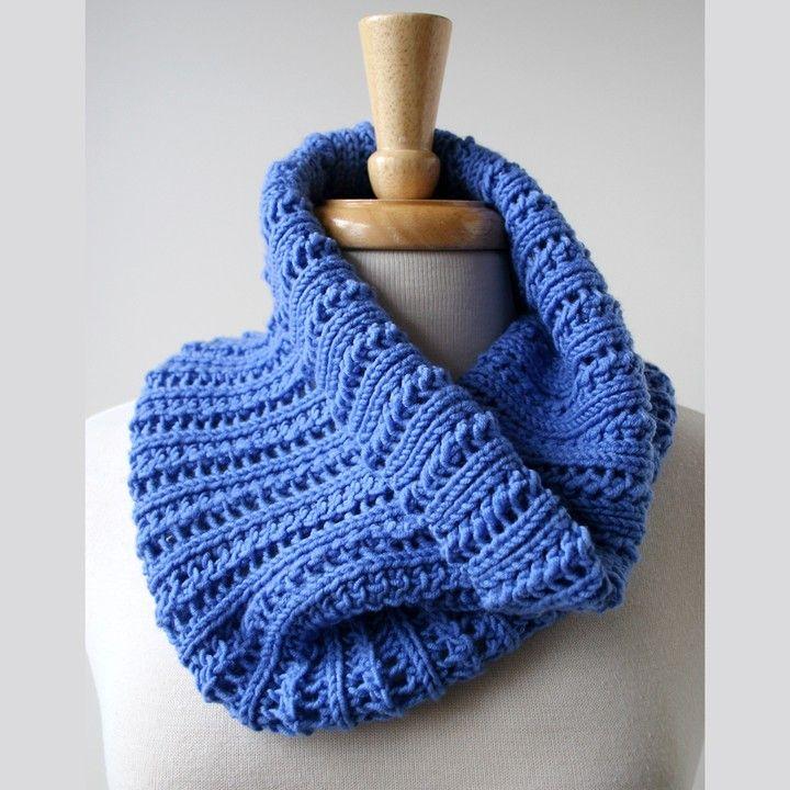 Knitting Wearable Art : Merino wool lace hand knit cowl neckwarmer in periwinkle