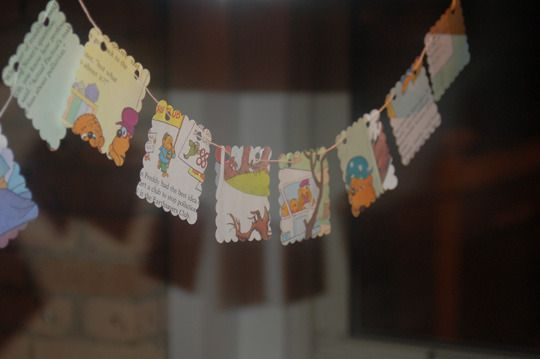 Oh, snap, this is awesome.  Berenstain Bears birthday party with cut-up books as a garland.  I'm thinking my reading corner could use one of these.  Remember how Too-Tall Grizzly was always up to no good?  I love how the Bears' tree house always seems to change geography.